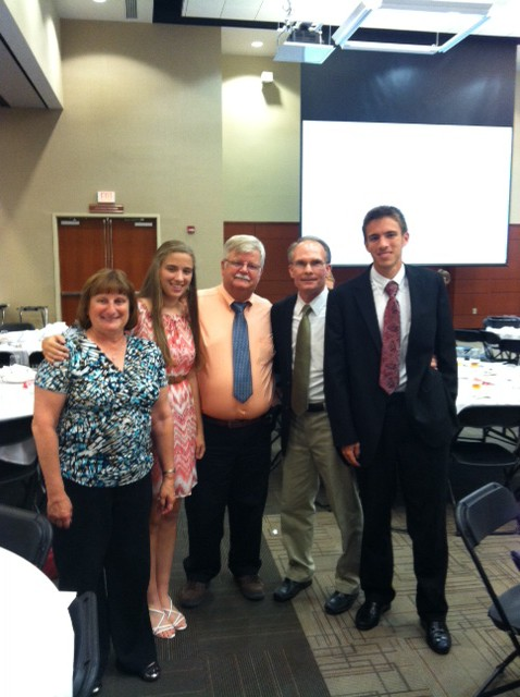 Mason with scholarship recipients Lisa and Alex Nanney and their parents.